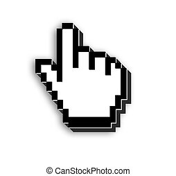 3d mouse pointer - 3d view of mouse pointer on isolated...