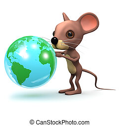 3d Mouse with a globe of the Earth