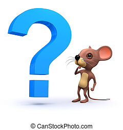 3d Mouse with a question - 3d render of a mouse with a...