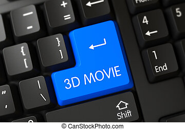 3D Movie Close Up of Blue Keyboard Keypad.