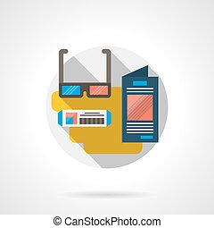 3D movie color detailed vector icon