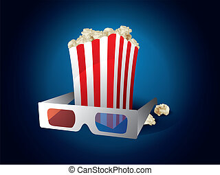 3d movie with popcorn