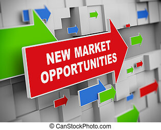 3d illustration of moving arrow of market opportunities on abstract wall background.