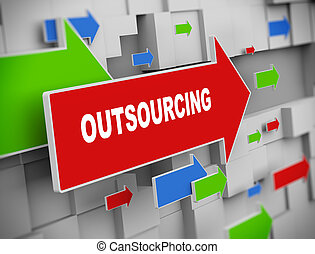 3d moving arrow - outsourcing