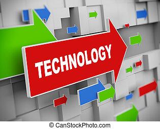 3d, mudanza, flecha, -, tecnología