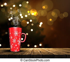 3D mug on a wooden table looking out to a defocussed Christmas tree