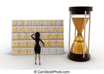 3D, mujer, concepto, calendario, reloj