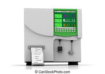3d multi use hematology analyzer in white background