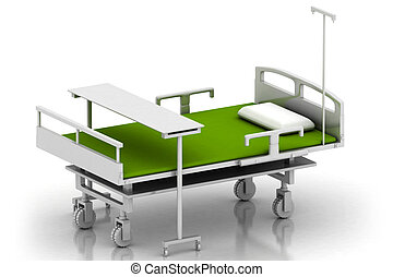 hospital bed - 3d multi use hospital bed in abstract white...
