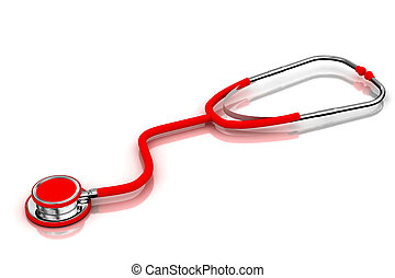 stethoscope - 3d multi use  stethoscope in  white background