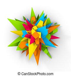 3D Multicolor Abstract Digital Flower