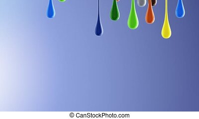 3D multicolor colorful glossy paint blobs dripping down