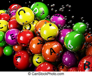 3d multicolor ball Vitamine on a black background