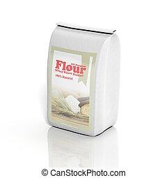 3d, multifacetado, farinha, saco, isolado, branco