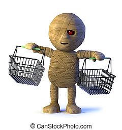 3d Mummy monster goes shopping