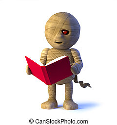 3d Mummy monster reads a book