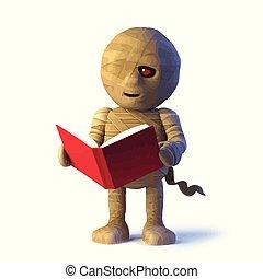 3d Mummy monster reads a book