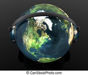 3D music globe with headphone