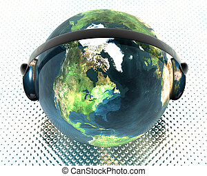 3D music globe with headphone HDRI background