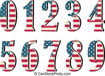 3d, números, con, bandera estadounidense, textura, aislado, blanco, fondo., vector, illustration., elemento, para, design., niños, alphabet.