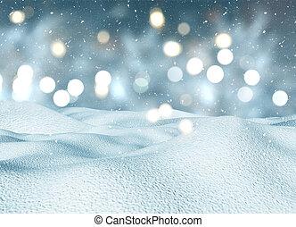 3d, natal, paisagem, nevado