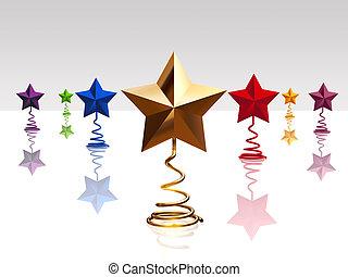 3d, navidad, color, estrellas, con, reflexión