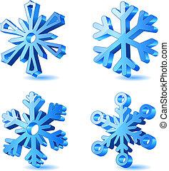 3d, navidad, vector, copo de nieve, iconos