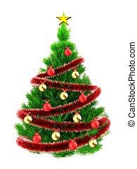 3d, neón, verde, árbol de navidad