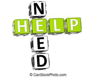 Need Help Crossword - 3D Need Help Crossword on white...