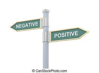 3d, negativo, positivo, segno strada