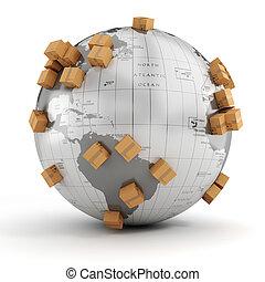 3d, negocio global, comercio, concepto