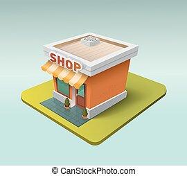 3d, negozio, icona