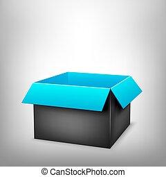 3d, negro, caja azul