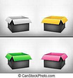 3d, negro, multicolor, caja