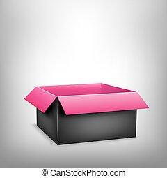3d, negro, rosa, caja