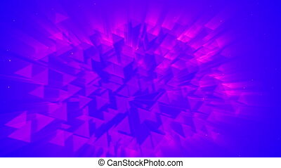 3D neon glow geometrical object rotating over black