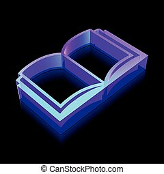 3d neon glowing Book icon made of glass, vector illustration.