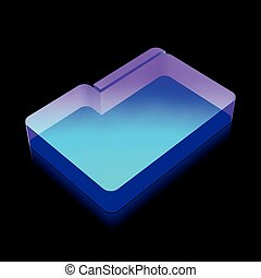 3d neon glowing Folder icon made of glass, vector illustration.