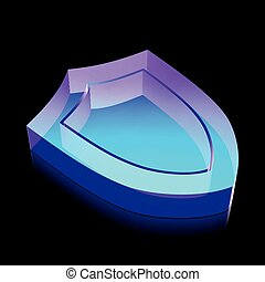 3d neon glowing Shield icon made of glass, vector illustration.