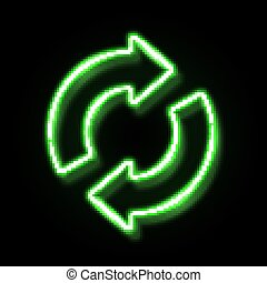 3d neon refresh reload restart icon with reflection isolated on black background. Green glowing recycling symbol. Night circle 2 arrow sign. Recycle design. Ecology element bright vector illustration.