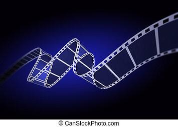 3d, nero, striscia cinematografica