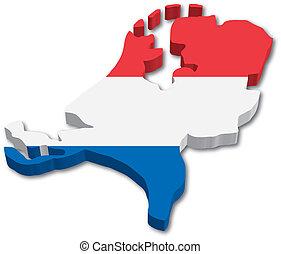 3d, netherlands, landkarte, mit, fahne