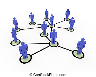 3d network of people
