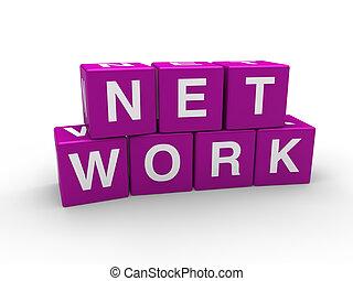 3d network purple cube