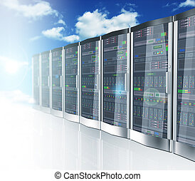 3d network servers datacenter and sky cloud background