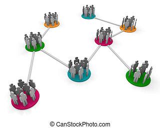 3d network team orange pink green social connect
