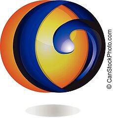 3D Network Technology Icon Logo