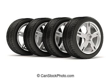 3d, neumático, y, rueda de aleación, blanco, ba