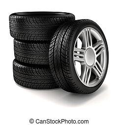 3d, neumático, y, rueda de aleación