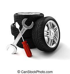 3d, neumáticos, blanco, plano de fondo
